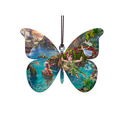 Disney's Peter Pan, by Thomas Kinkade Studios, is featured on this shaped acrylic collectible. Peter, Wendy, Hook, and more are surrounded by bright, lush, Never Land scenery. The image is made entirely of acrylic!