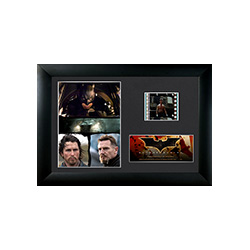 Celebrate the beginnings of a legend in Christopher Nolan's Batman Begins with this framed collectible Minicell featuring an image collage from the film, a certificate of authenticity, and one clip of real 35mm film from the movie.