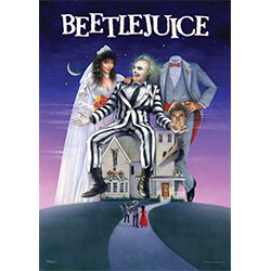 You don't even have to say his name three times to make Beetlejuice appear on your wall.  This officially licensed MightyPrint™ Wall Art features Michael Keaton's …loveable (?) character along with Lydia, Adam and Barbara Maitland, Delia and Charles Deetz
