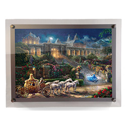 Show your love of Disney's Cinderella with this MightyPrint™ wall art featuring Thomas Kinkade Studios' panoramic painting, Clock Strikes Midnight, done in Kinkade's instantly recognizable, luminous style. This piece is displayed in an LED-backlit frame