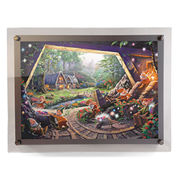 Show your love of Snow White and the Seven Dwarfs with this MightyPrint wall art featuring an image of Thomas Kinkade Studios panoramic painting, Snow White and the Seven Dwarfs, done in Kinkade's instantly recognizable, luminous style.