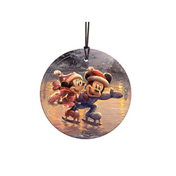 Mickey and Minnie take to the ice in festive, cozy, winter clothes. Thomas Kinkade Studios brings the most beloved sweethearts on a frosty, wintery festive on this StarFire Prints™ Hanging Glass. This light-catching glass Glass Print is perfect