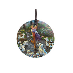 Pups, pups, and more pups. Thomas Kinkade Studios brings another level of charm to Disney's 101 Dalmatians. In a lush, colorful park, adorable Dalmatian puppies surround the canine and human lovebirds.  As this StarFire Prints™ Hanging Glass catches light