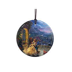 Give your wall or window the royal treatment this festive season with a Hanging Glass print featuring a scene from Disney's Beauty and the Beast, beautifully rendered by Thomas Kinkade Studios.