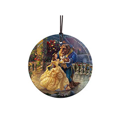 Belle, in her iconic golden gown, and a royally dressed Beast dance together on the castle veranda. Thomas Kinkade Studios captures a beautiful scene from Disney's Beauty and the Beast. This light-catching StarFire Prints™ Hanging Glass.