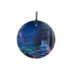 Cinderella and her prince dance and twirl together under the starlight on this Hanging Glass Glass Print. Her iconic, ice-blue gown sparkles with magic as her adorable friends look on. Typical of Thomas Kinkade Studios