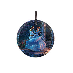 Cinderella and her prince dance and twirl together under the starlight on this Stained Glass Style Hanging Glass Glass Print. Her iconic, ice-blue gown sparkles with magic. The light-catching properties illuminate the image in natural light.