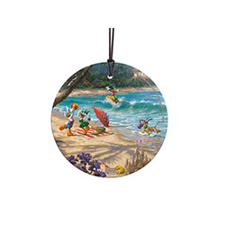 Set sail for Hawaii with some of your favorite Disney friends. Daisy, Donald, Pluto, and Goofy enjoy a tropical beach vacation. Who knew Goofy would be such a great surfer? This StarFire Prints™ Hanging Glass collectible is vivid and light-catching.