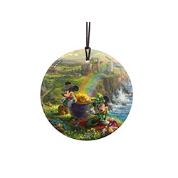 Disney's Mickey and Minnie Mouse are on vacation in Ireland! Both characters are certainly dressed for the part with Minnie's green and white polka dots and Mickey's vest and hat. StarFire Prints Hanging Glass Decoration.