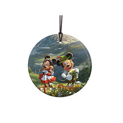 Disney's Mickey and Minnie are in the Alps! They seem to be enjoying the mountain air in traditional Swiss outfits. Like all of Thomas Kinkade Studios art, they're surrounded by beautiful nature and charming details. StarFire Prints Hanging Glass