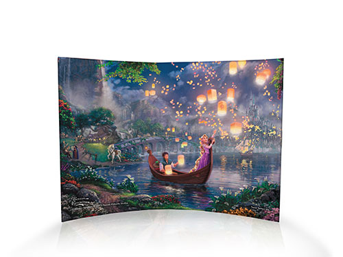 In this scene from Disney's Tangled, Finn and Rapunzel enjoy a romantic boat ride as Rapunzel releases sky lanterns. Onshore, Finn's perturbed steed looks on a bit jealous!  This Thomas Kinkade Studios art piece was designed with kids in mind!