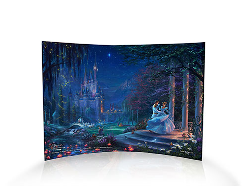 Cinderella and her prince dance and twirl together under the starlight. Her iconic, ice-blue gown sparkles with magic as her adorable friends look on. Typical of Thomas Kinkade Studios, this image is full of beautiful colors and details