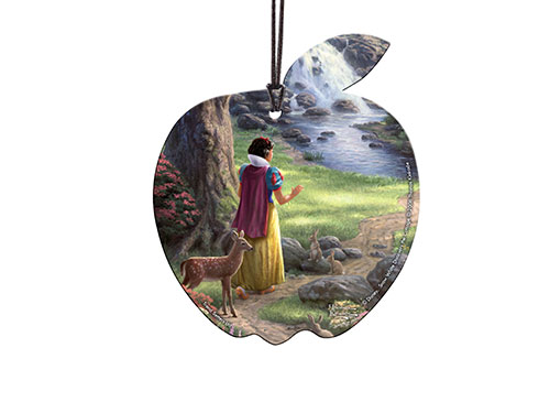 Disney's Snow White is featured in this apple-shaped, acrylic collectible. Surrounded by fuzzy friends, she makes her way down the path toward the whimsical cottage where she will meet her new best friends. All seven of them. This image, by Thomas Kinkade
