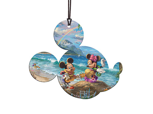 Mickey and Minnie are on a tropical vacation in Hawaii.  Minnie dances the hula while Mickey plays the ukulele. In the background, Pluto plays in the surf. Above the scene, a vibrant rainbow arches over the sea.