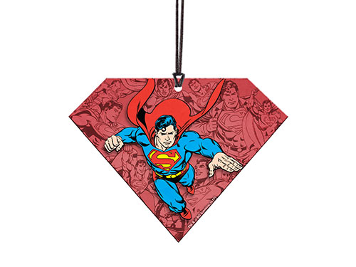 It's not a bird or a plane. It's comic-style Superman in his bright blue, red, and yellow, soaring into your home décor. This acrylic collectible, in the shape of the Kryptonian shield, is perfect for any wall, wall, window, or car all year long.