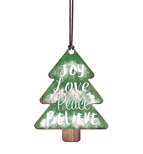 A sweet little festive wall with the purest of messages. Joy, Love, Peace, Believe. The rustic wall image is fused directly into the acrylic for a lasting, light-catching piece of festive décor.