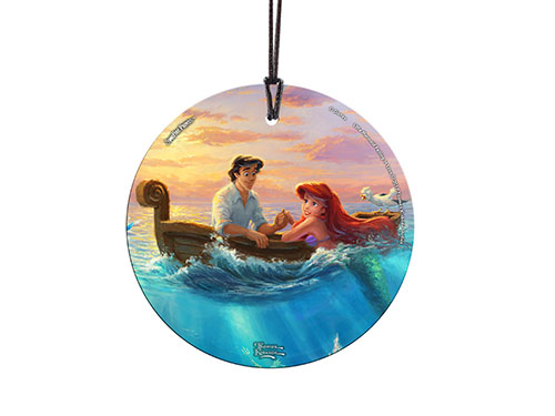 Disney's Little Mermaid is featured on this StarFire Prints™ Hanging Glass Collectible. Ariel and Eric are falling in love while Scuttle sits perched nearby. Below the surface even more details can be seen.